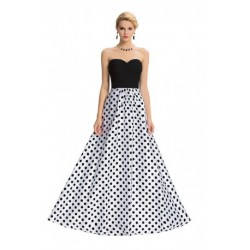 Polka Dots Design Strapless Sweetheart Neckline Evening Dress