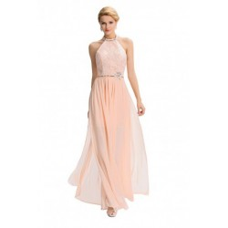 Chiffon Halter Backless Embroidered Pink Evening Dress