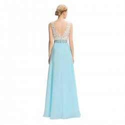 Chiffon V-Neck Floor-Length Light Blue Evening Dress