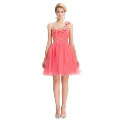 Flower Embroidered Tulle Watermelon Red Cocktail Dress