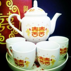 Chinese Wedding Traditional Tea Pot & Cup Set
