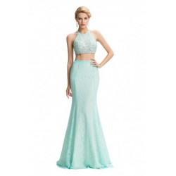 Two-Piece Halter Embellished Pale Turquoise Evening Dress
