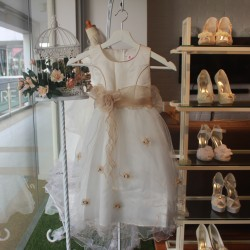 [MYCYBERSALE] Sweet Flower Girl Lace Dress - White & Gold