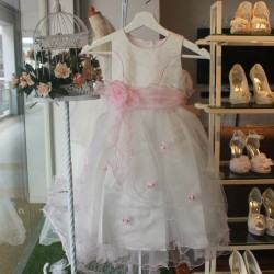[MYCYBERSALE] Sweet Flower Girl Lace Dress - White & Pink