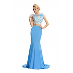 Flower Embroidered & Beading Two-Piece Light Blue Evening Dress