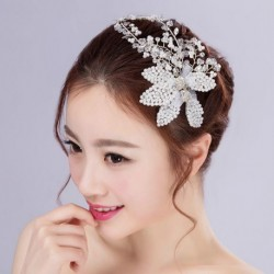 Korean Bridal Flower & Pearl Hair Accessory