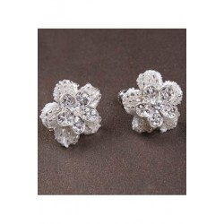Korean Bridal Diamante Flower Stud Earclip