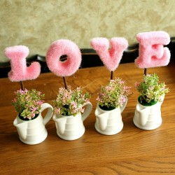 Mini Wedding Pink L.O.V.E Plant Decoration