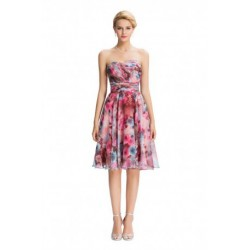 Strapless Sweetheart Neckline Chiffon Short Floral Bridesmaid Dress