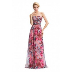Strapless Sweetheart Neckline Chiffon Long Floral Evening Dress