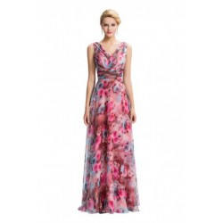 Floral Pattern Sleeveless V-Neck Chiffon Evening Dress