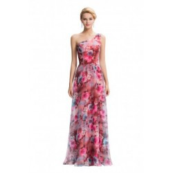Floral Pattern One Shoulder Chiffon Evening Dress