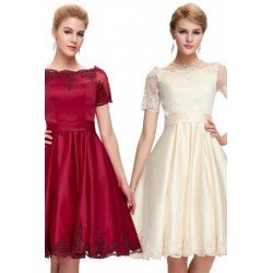 Classy Knee Length Laced-up Back Satin Cocktail / Bridesmaid Dress (2 Colors)