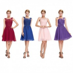 Embellished Sleeveless Chiffon Knee Length Cocktail / Bridesmaid Dress (6 Colors)