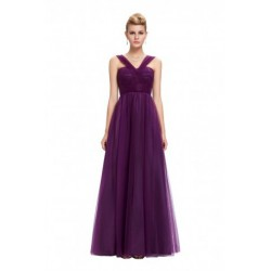Elegant Sleeveless Floor Length Purple Evening Gown
