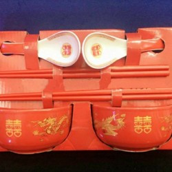 Chinese Wedding Traditional Bowl & Chopstick Set (Pair)