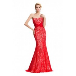 Embroidered & Knotted Waist Design Strapless Red Evening Dress