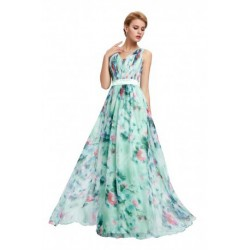 Spring Floral Printed Chiffon V-Neck Evening Dress