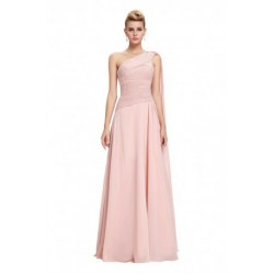Classy One Shoulder Chiffon Pink Evening Dress