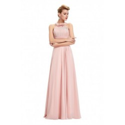 Classic Halter Chiffon Backless Pink Evening Dress