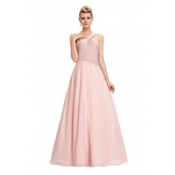 Classic Cross Strap Floor Length Chiffon Pink Evening Dress