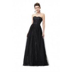 Sweetheart Neckline Strapless Tulle Floor Length Black Evening Dress