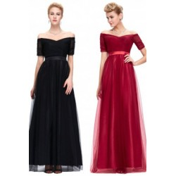 Elegant Off Shoulder Short Sleeved Tulle Evening Dress (2 Colors)