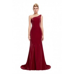Classy One Shoulder Satin Floor Length Wine Red Evening Dress