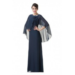 Classic Long Sleeved Mother of the Bride / Groom Navy Blue Evening Dress