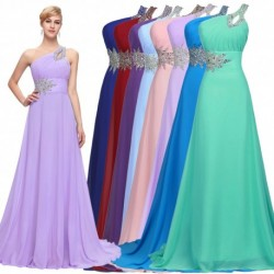 Beaded Chiffon One Shoulder Floor Length Bridesmaid / Evening Dress (8 Colors)