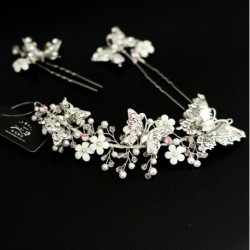 Butterfly & Flower Bridal Hair Accessory
