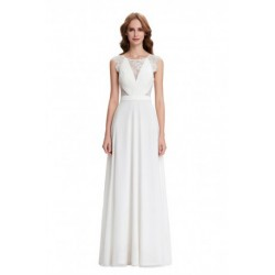 Classic Elegant Floor Length Sleeveless Chiffon Ivory Evening Dress