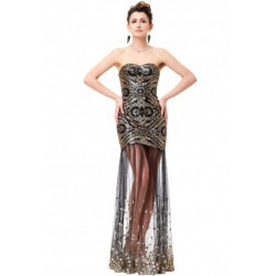 Glam Sweetheart Neckline Sequined Black Evening Dress