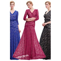 Elegant Lace V-Neck Floor Length Evening Dress (3 Colors)