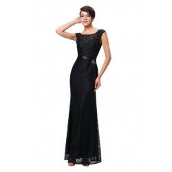 Classic Cap Sleeved V-Back Lace Evening Dress (3 Colors)