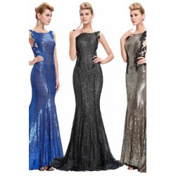 Stunning Sequined Backless Floor Length Evening Dress