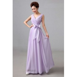 Chiffon Floor Length Dinner Dress Bridesmaid Dress D