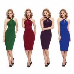Retro Vintage Halter Backless Swing Cocktail Dress (4 Colors)