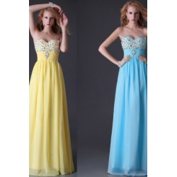 Elegant Strapless Sweetheart Chiffon Evening Dress (2 Colors)