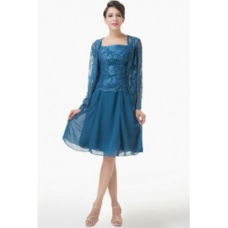 Elegant Lace & Chiffon Two-Piece Blue Mother of the Bride / Groom Dress