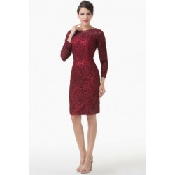 Classic Knee Length Long Sleeved Red Mother of the Bride / Groom Dress