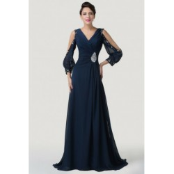 Embellished V-Neck Chiffon Navy Blue Mother of the Bride / Groom Evening Dress