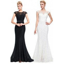 Elegant Floor Length Lace Embroidered Evening Dress (2 Colors)