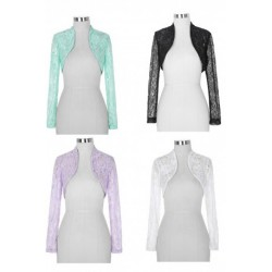 Ladies Long Sleeved Lace Cardigan / Bolero (4 Colors)