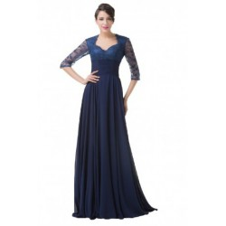 Classic Elegant Lace Long Sleeved Navy Blue Evening Dress