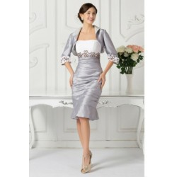 Classy 2 Piece Silver & White Evening Dress with Floral Detailed Cardigan