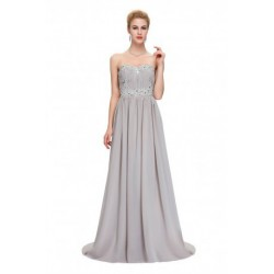 Embellished Sweetheart Neckline Chiffon Evening Dress (2 Colors)