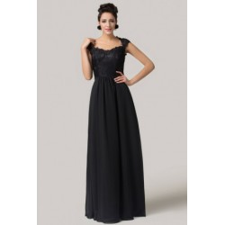 Chiffon with Embroidered Lace Black Sleeveless Evening Dress