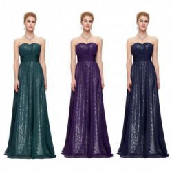 Strapless Sweetheart Sequined Evening Dress (3 Colors)