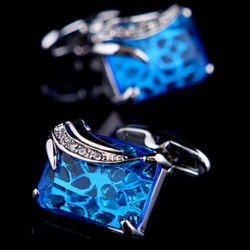Pair of Fashionable Blue Faux Gem and Rhinestone Embellished Cufflinks
